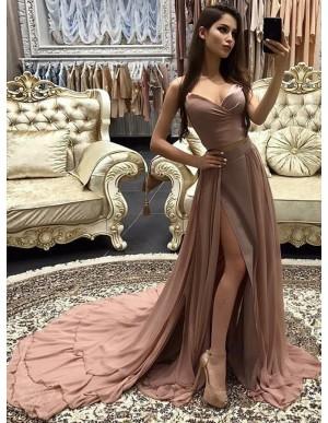 A-line Spaghetti Straps Court Train Chiffon Blush Prom Dress with Split