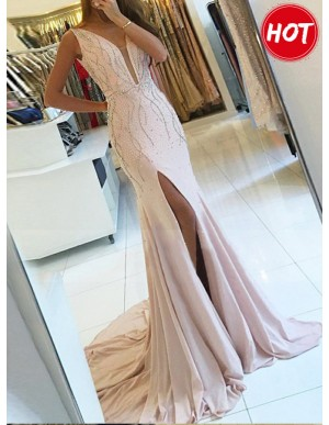 Mermaid V-Neck Slit Leg Beaded Pink Chiffon Prom Dress with Sequins