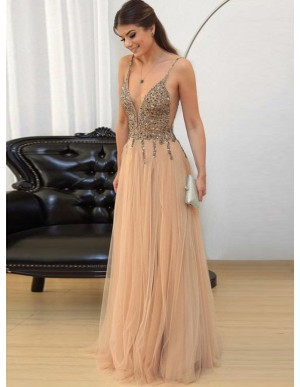 A-Line Deep V-Neck Backless Champagne Tulle Prom Dress with Beading Sequins