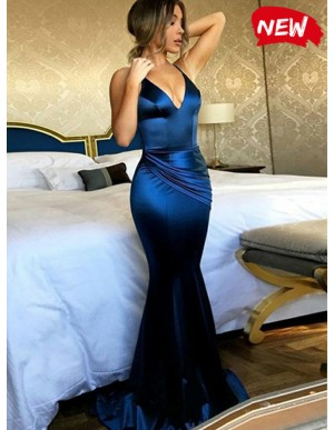 Mermaid Spaghetti Straps Ruched Royal Blue Sexy Prom Dress