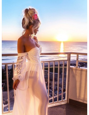 A-Line Off-the-Shoulder Long Sleeves Floor-Length White Chiffon Prom Dress with Lace