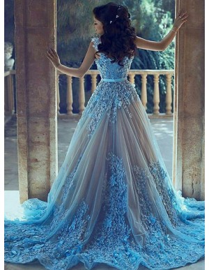 A-Line Sleeveless Court Train Blue Prom Dress with Appliques Sash