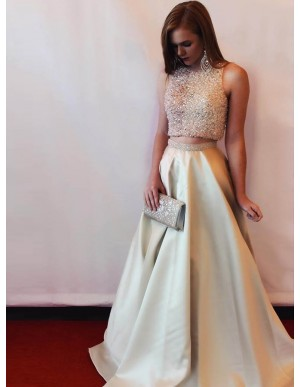 Two Piece Bateau Sparkle Beaded Champagne Satin Prom Dress