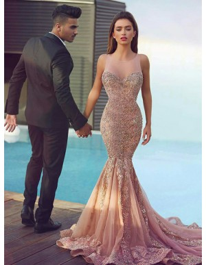 Mermaid Round Neck Sweep Train Champagne Prom Dress with Appliques Beading