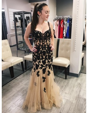 Mermaid Spaghetti Straps Champagne Prom Dress with Appliques