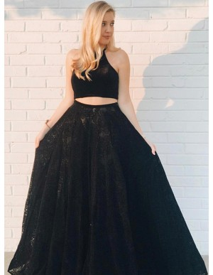 Two Piece Jewel Floor-Length Black Lace Prom Dress
