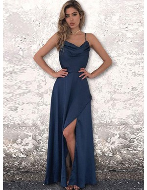 A-Line Spaghetti Straps Backless Floor-Length Dark Blue Prom Dress with Split