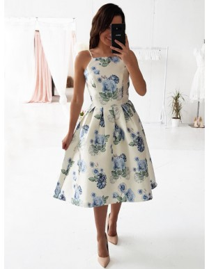 A-Line Spaghetti Straps Mid-Calf Ivory Printed Prom Dress with Pleats