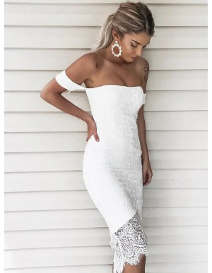 Sheath Off-the-Shoulder Short Sleeves High Low White Lace Prom Dress