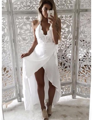 A-Line Spaghetti Straps High Low White Chiffon Prom Dress with Lace
