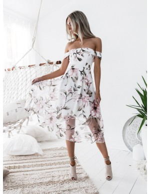 A-Line Off-the-Shoulder Mid-Calf White Printed Organza Homecoming Dress