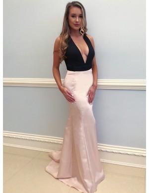 Mermaid Deep V-Neck Pearl Pink Sweep Train Convertible Prom Dress