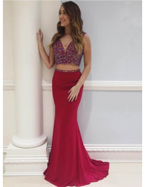 Two Piece V-Neck Sweep Train Burgundy Prom Dress with Beading