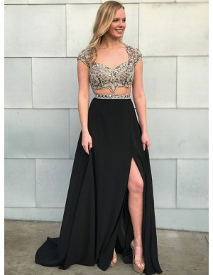 Two Piece Scoop Cap Sleeves Open Back Black Prom Dress with Beading Split