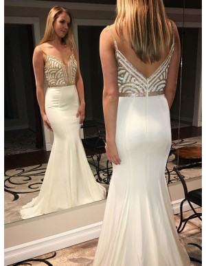 Mermaid Spaghetti Straps Sweep Train Ivory Prom Dress with Beading