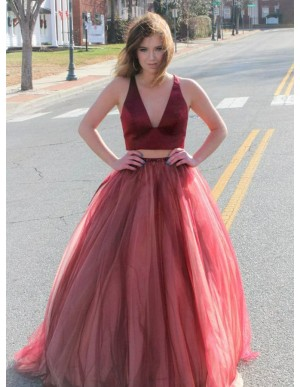 Two Piece V-Neck Sweep Train Dark Red Prom Dress with Beading