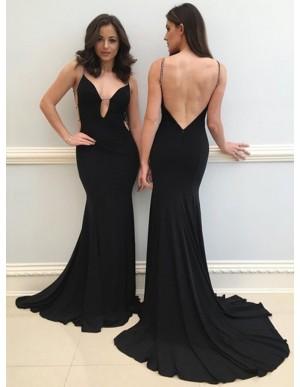 Mermaid Spaghetti Straps Backless Black Prom Dress with Beading