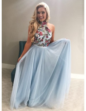 A-Line High Neck Floor-Length Light Blue Prom Dress with Appliques