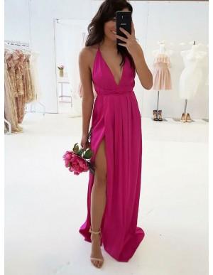 A-Line V-Neck Criss-Cross Straps Fuchsia Prom Dress with Split