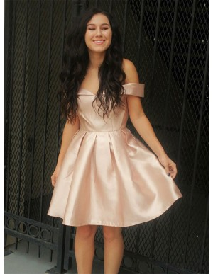 A-Line Off-the-Shoulder Above-Knee Pearl Pink Homecoming Dress with Pleats