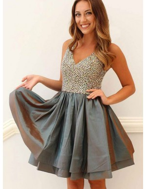 A-Line V-Neck Open Back Above-Knee Grey Prom Dress with Beading
