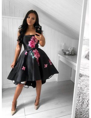 A-Line Strapless High Low Black Satin Printed Prom Dress