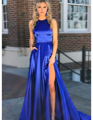 A-Line Crew Sweep Train Royal Blue Prom Dress with Pockets Split