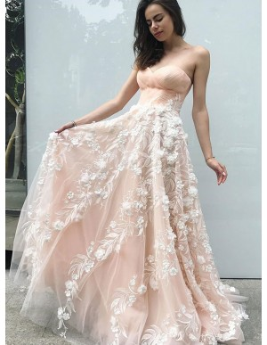 A-Line Sweetheart Sweep Train Peral Pink Prom Dress with Appliques
