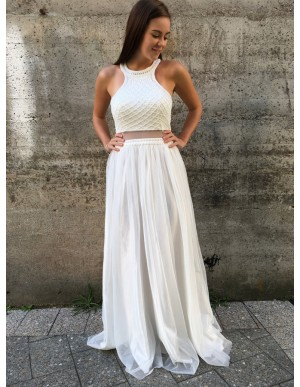 A-Line Crew Open Back Floor-Length White Prom Dress with Beading