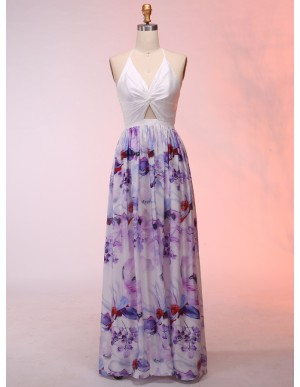A-Line Halter Keyhole Backless Floral Prom Dress with Sashes