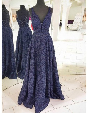 A-Line Deep V-Neck Dark Blue Lace Prom Dress with Beading