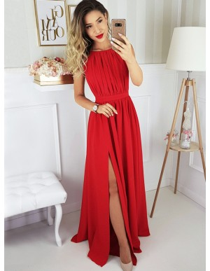 A-Line Round Neck Floor-Length Red Pleated Prom Dress with Split