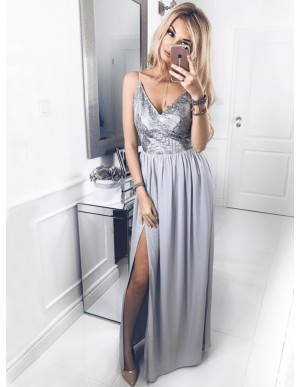 A-Line Spaghetti Straps Floor-Length Grey Prom Dress with Sequins Split