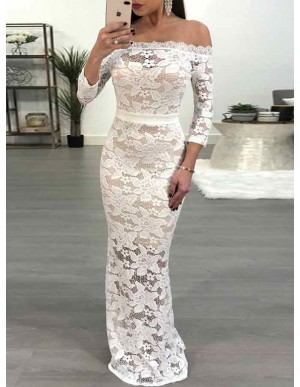 Mermaid Off-the-Shoulder 3/4 Sleeves Floor-Length White Lace Prom Dress