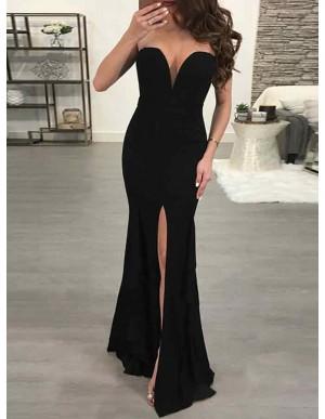 Mermaid Sweetheart Floor-Length Black Prom Dress with Split