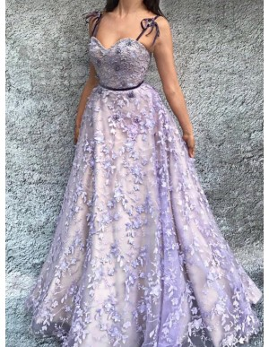A-Line Spaghetti Straps Floor-Length Lavender Prom Dress with Appliques