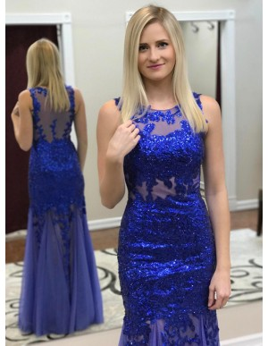 Mermaid Round Neck Floor-Length Royal Blue Prom Dress with Sequins