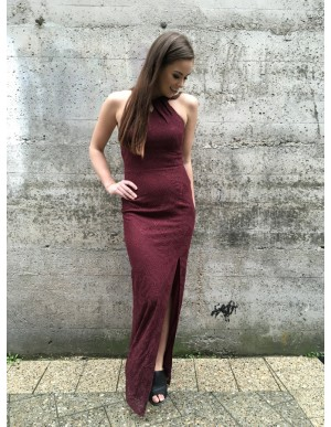 Mermaid Jewel Open Back Floor-Length Burgundy Lace Prom Dress with Split