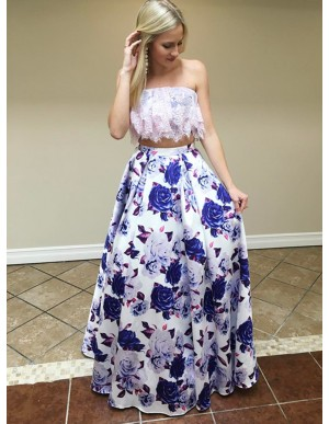 Two Piece Strapless Floor-Length White Printed Prom Dress with Lace