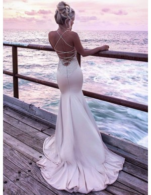 Spaghetti Strap Tight Long Blush Mermaid Prom Dress with Appliques