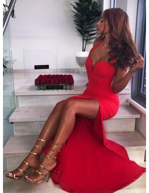 Mermaid Halter Sleeveless Floor-Length Red Prom Dress with Split