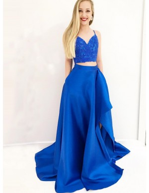 Two Piece Spaghetti Straps Royal Blue Prom Dress with Pockets Split
