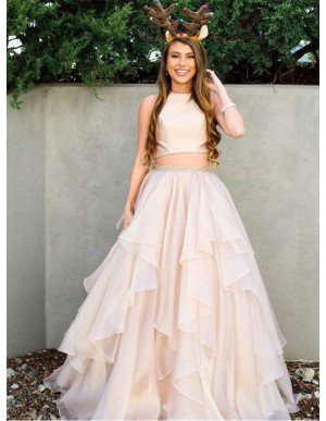 Two Piece Jewel Long Open Back Tiered Pearl Pink Prom Dress