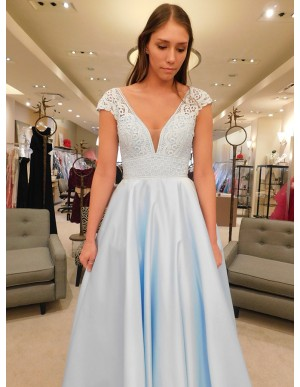 A-Line V-Neck Cap Sleeves Floor-Length Light Blue Prom Dress with Lace