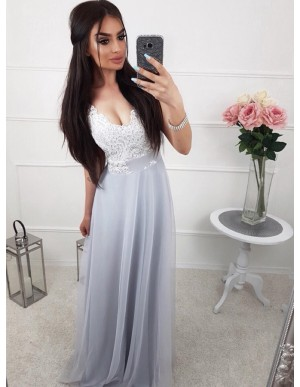 A-Line V-Neck Sleeveless Floor-Length Light Grey Prom Dress with Lace