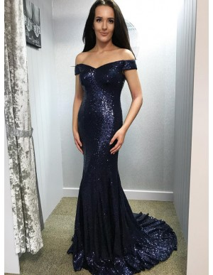 Mermaid Long Sequined Prom Dress Sparkle Off-the-Shoulder Navy Blue Evening Dress