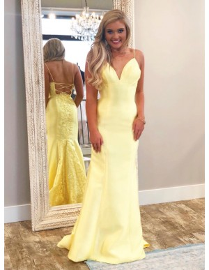 Mermaid Spaghetti Straps Lace-Up Sweep Train Daffodil Prom Dress with Appliques