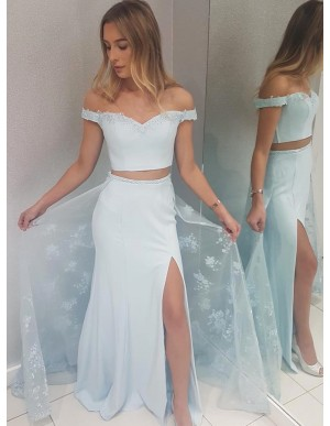 Two Piece Off-the-Shoulder Long Over Skirt Light Blue Prom Dress with Appliques Split