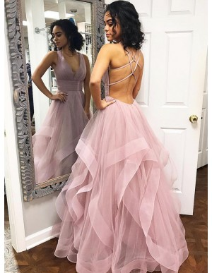 A-Line V-Neck Criss-Cross Back Floor-Length Pink Tiered Prom Dress
