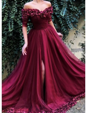 A-Line Off-the-Shoulder Half Sleeves Burgundy Long Prom Dress with Flowers Split